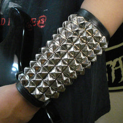 80's Metal - 10 Row Silver Stud Arm Gauntlet