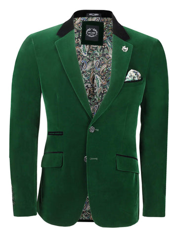 80's Glam Emerald Green Velvet Jacket