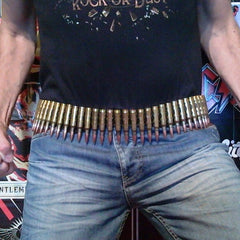 7.62 Copper Tipped Brass Bullet & Reversed Black Link Belt