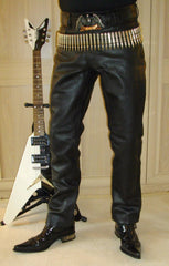 80's Metal Rockstar Slim Fit Leather Jeans
