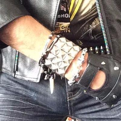 80's Metal - 3 Row Silver Stud Wristband