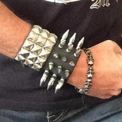 80's Metal - 3 Row Medium Spike Wristband