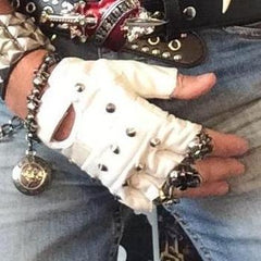 80's Glam White Leather Studded Fingerless Gloves