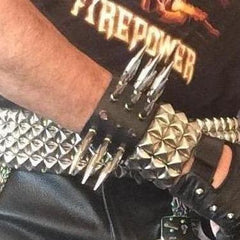 80's Metal - 3 Row Long Spike Wristband