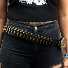 80's Metal Replica Brass Bullet & Revolver Buckle Belt