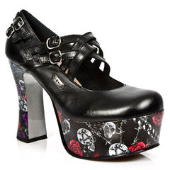 Pin Up 002 C11 Skulls 'N' Roses Platform Cross Strap