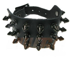 80's Metal - 3 Row Black Spike Wristband