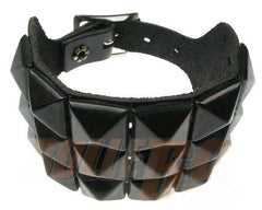 80's Metal - 3 Row Black Stud Wristband