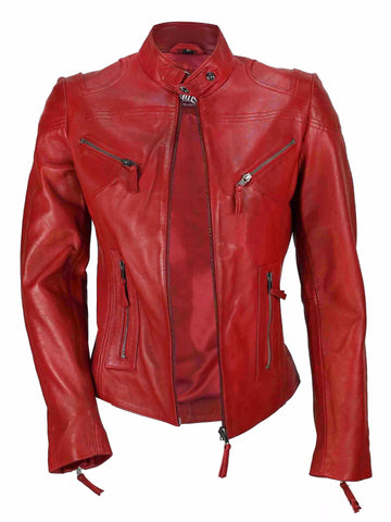 80's Metal Rock Chick 'Red Racer' Leather Jacket