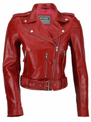 80's Metal Rock Chick 'Red Retro' Leather Jacket