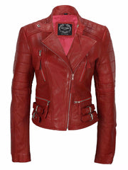 80's Metal Rock Chick 'Red Rocker' Leather Jacket