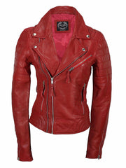 80's Metal Rock Chick 'Red Warrior' Leather Jacket
