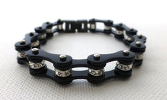 Black Crystal Roller Chain Bracelet