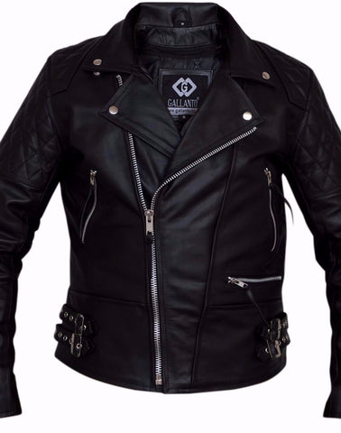 80's Metal Black Diamond 'Rocker' Leather Jacket