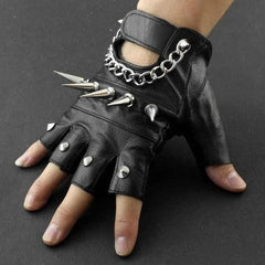 80's Metal - Spiked & Chained Leather Studded Fingerless Gloves