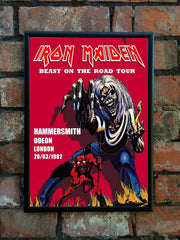 Iron Maiden 1982 'Beast On The Road' UK Tour Poster