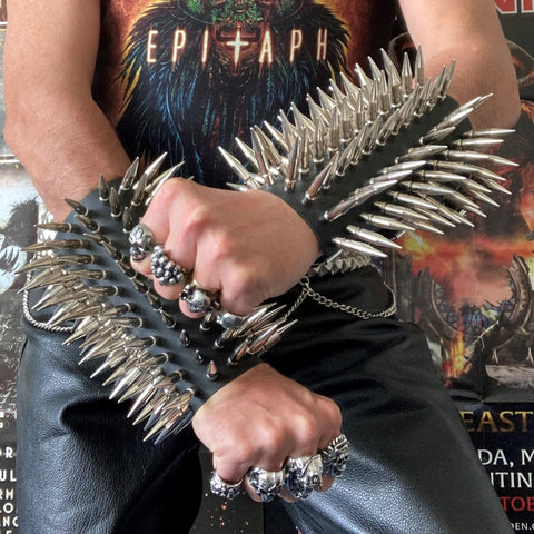80's Metal - 11 Row Large Spike Arm Gauntlet