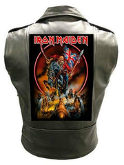 Metalworks Iron Maiden 'England' Sleeveless Leather Jacket