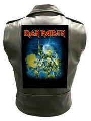 Metalworks Iron Maiden 'Live After Death' Sleeveless Leather Jacket
