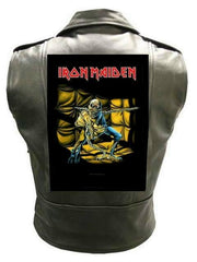 Metalworks Iron Maiden 'Piece Of Mind' Sleeveless Leather Jacket