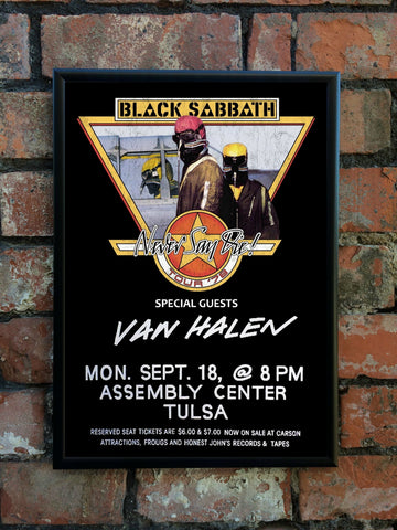 Black Sabbath 1978 'Never Say Die' US Tour Poster