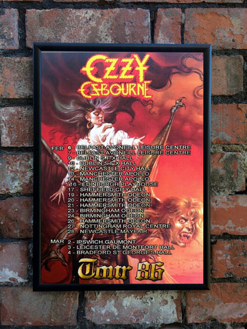 Ozzy Osbourne 1986 'Ultimate Sin' UK Tour Poster