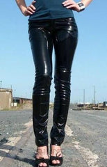 80's Metal Rock Chick Faux Leather Liquid Metallic Jeans