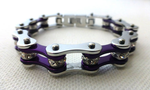 Silver & Candy Purple Crystal Roller Chain Bracelet