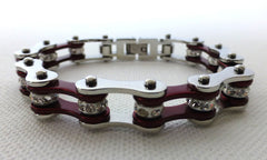 Silver & Candy Red Crystal Roller Chain Bracelet