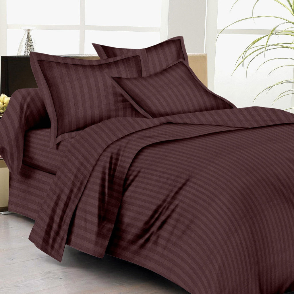 Satin Stripe Duvet Cover - 300 TC Chocolate - large - 1