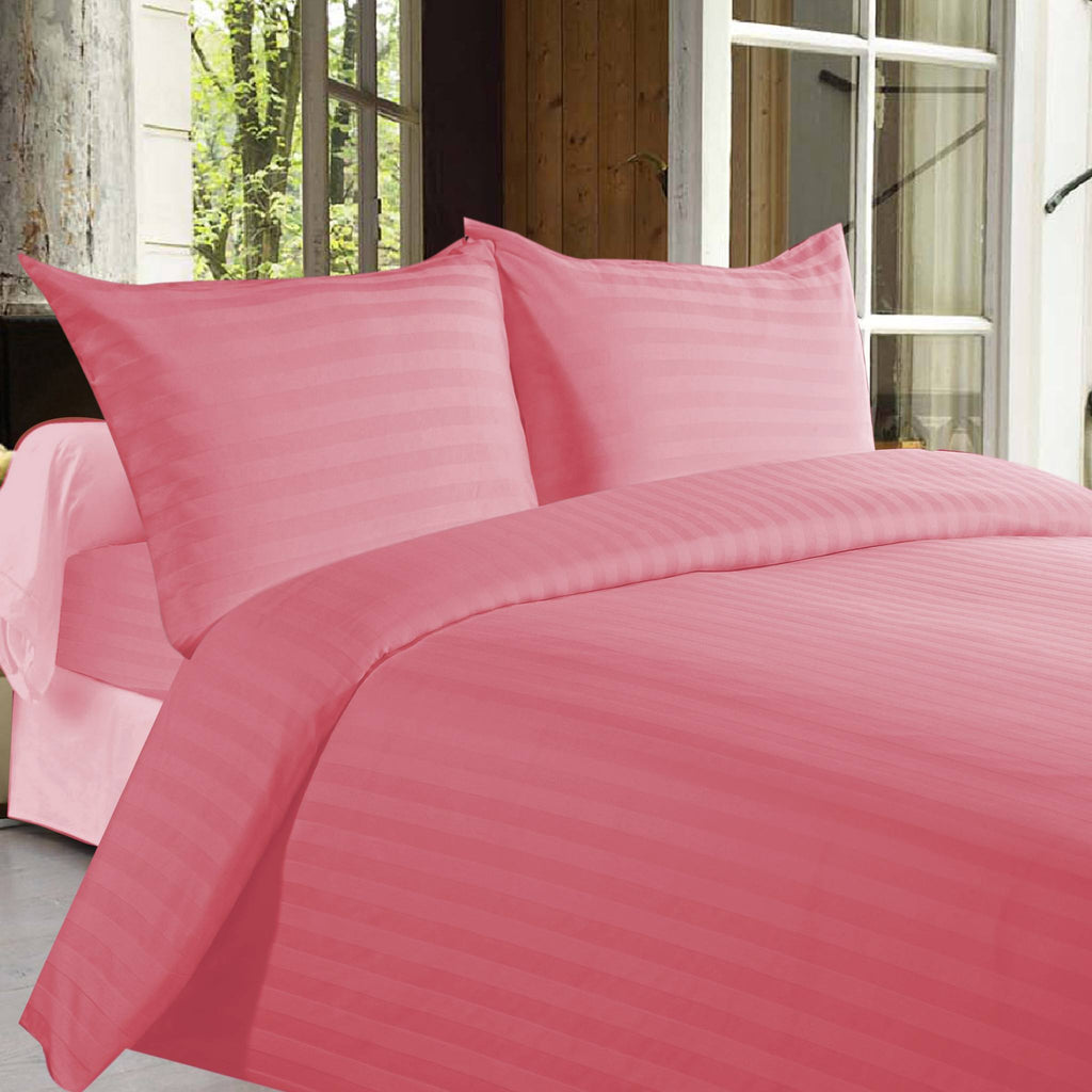 Satin Stripe Duvet Cover - 300 TC Dusty Rose - large - 1