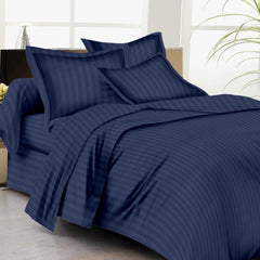 Satin Stripe Duvet Cover - 300 TC Navy Blue