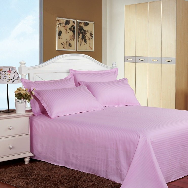 Satin Stripe Duvet Cover - 300 TC Pink - large - 1