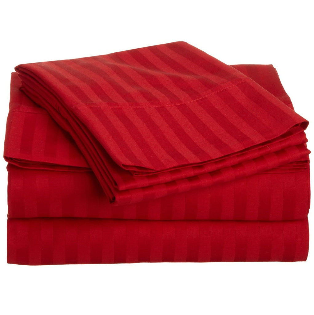 Satin Stripe Duvet Cover - 300 TC Red - large - 1