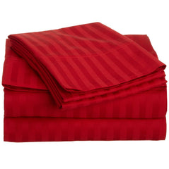 Satin Stripe Duvet Cover - 300 TC Red