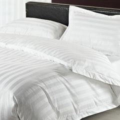 Satin Stripe Duvet Cover - 300 TC White