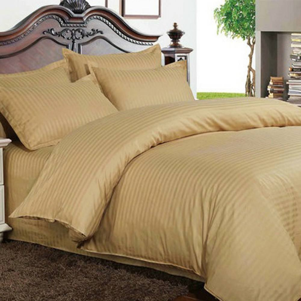 Bed Sheets with Stripes 200 Thread count - Camel - large - 1
