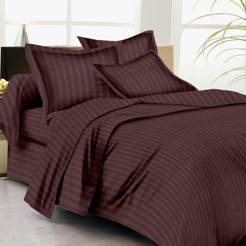 Bed Sheets with Stripes 200 Thread count - Chocolate Brown - 1