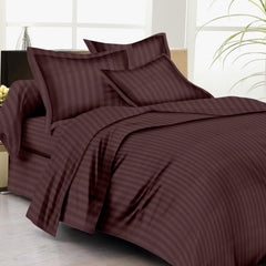 Bed Sheets with Stripes 200 Thread count - Chocolate Brown