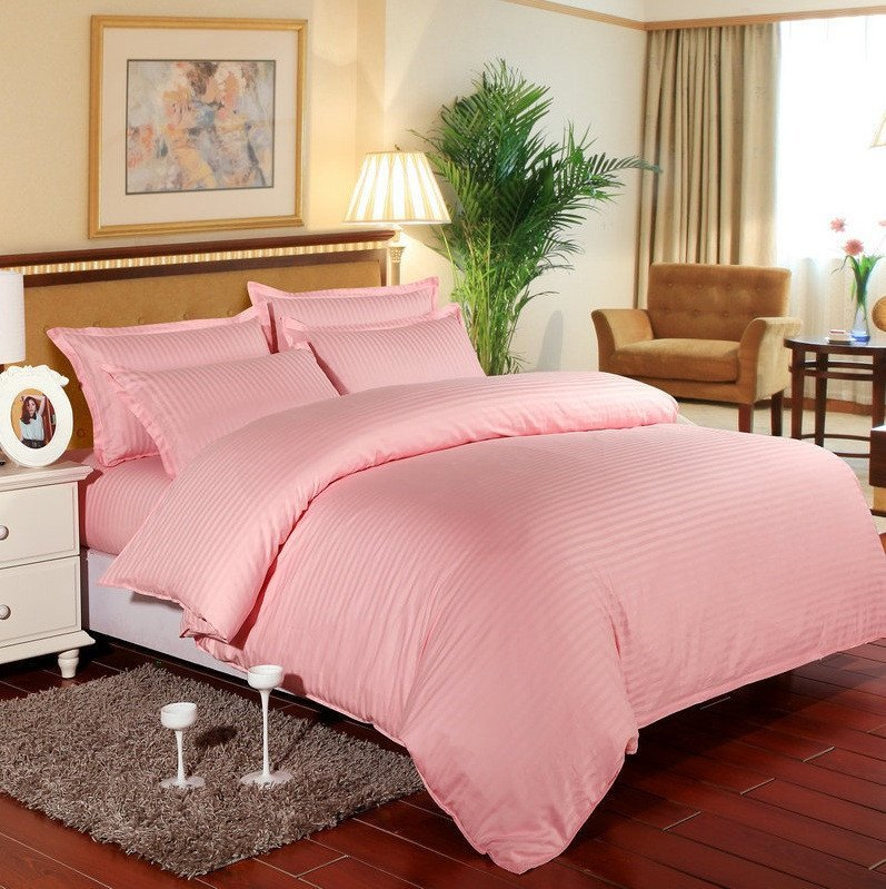 Bed Sheets with Stripes 200 Thread count - Pink - large - 1