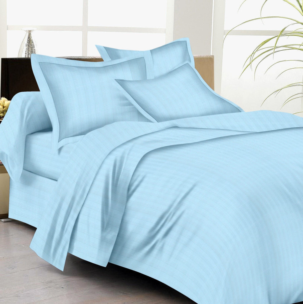 Bed Sheets with Stripes 200 Thread count - Sky Blue - large - 1