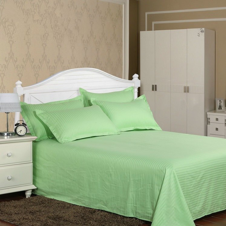 Bed Sheets with Stripes 300 Thread count - Light Green - large - 1
