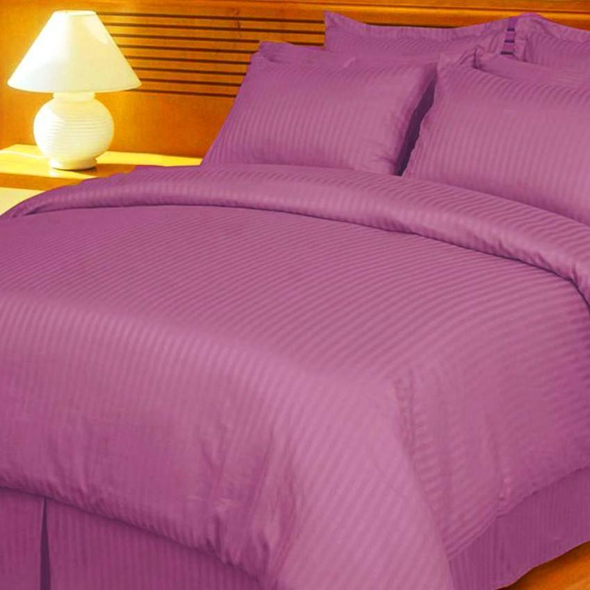 Bed Sheets with Stripes 300 Thread count - Purple - large - 1