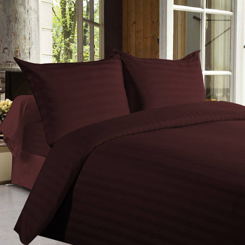 Bed sheets with Stripes 350 Thread count - Brown - 1