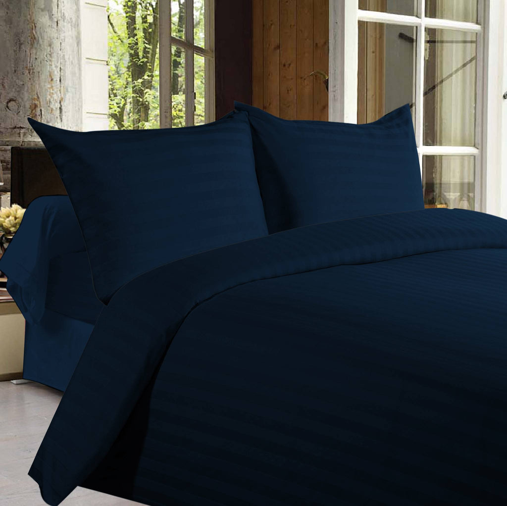 Bed sheets with Stripes 350 Thread count - Dark Blue - large - 1