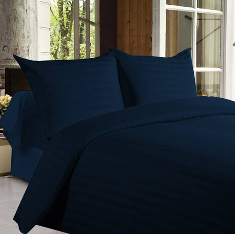 Bed sheets with Stripes 350 Thread count - Dark Blue - 1