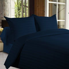 Bed sheets with Stripes 350 Thread count - Dark Blue
