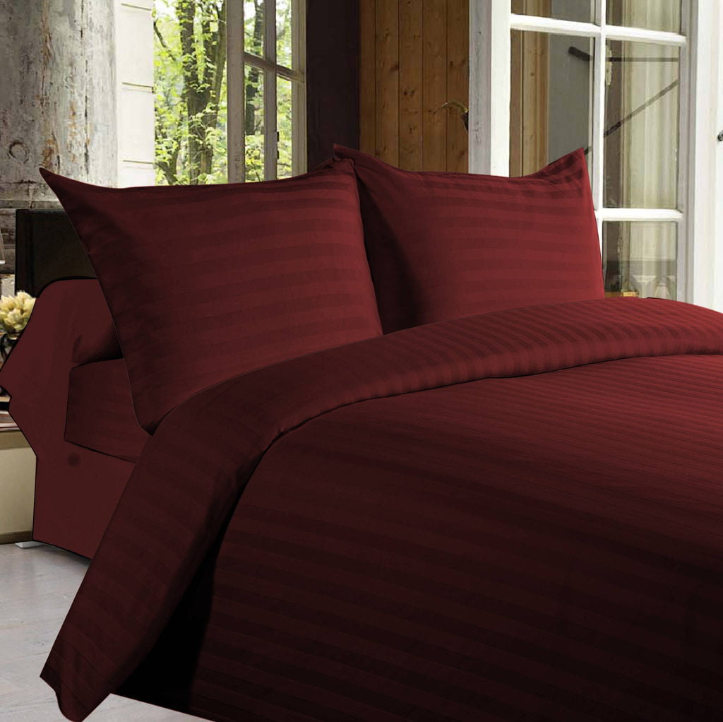 Bed sheets with Stripes 350 Thread count - Maroon - large - 1