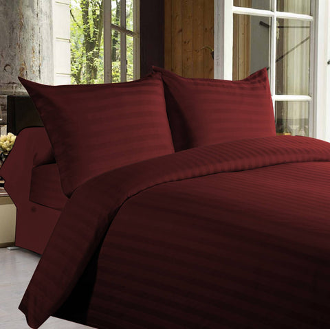 Bed sheets with Stripes 350 Thread count - Maroon - 1