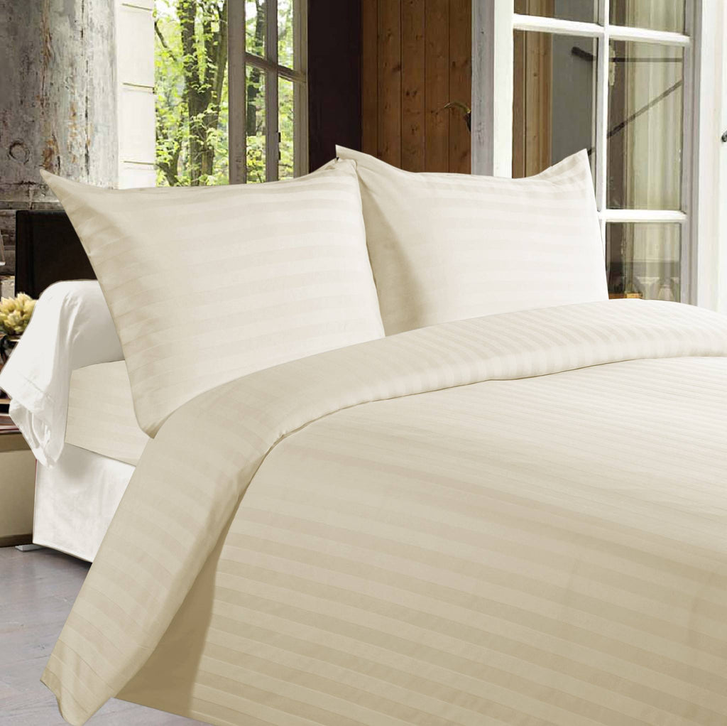 Bed sheets with Stripes 350 Thread count - Off White - large - 1